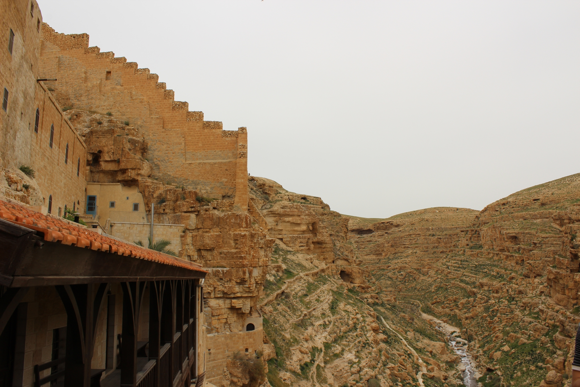 View from a Mar Saba balcony on the Kidron valley