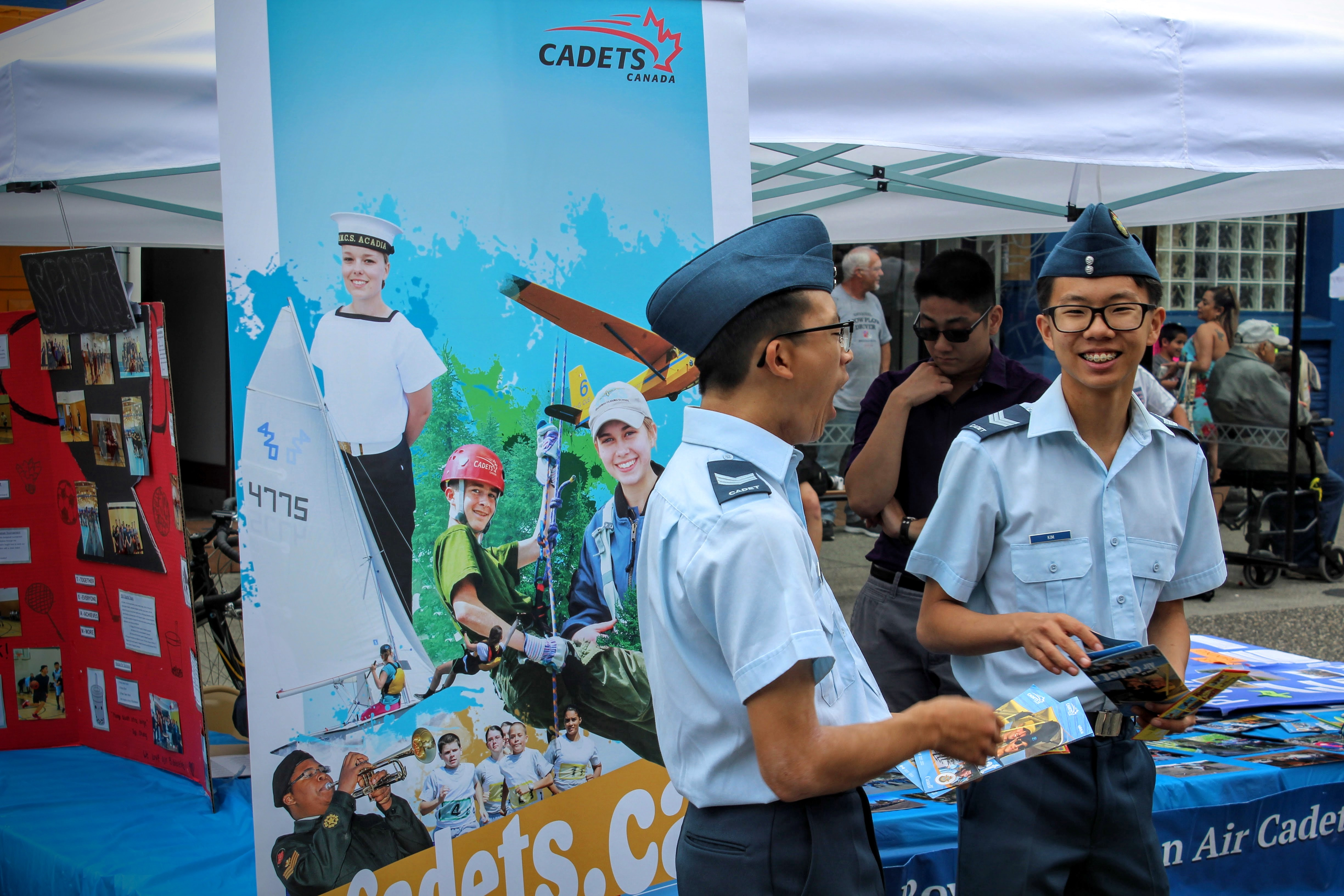 Chinese-Canadian boys promoting Canada's cadets program during the Italian day festival